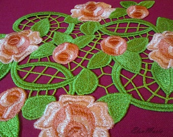 Roses  Lace -  Machine Embroidery Design  5*7,  7*9