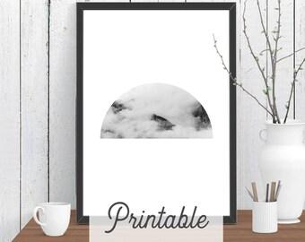 Half Circle Cloud Mountain PRINTABLE Print | Scandi Wall Art | Modern Room Decor | Minimalist Downloadable Poster