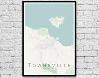 Townsville QLD City Street Map Print | Wall Art Poster | Wall decor | A3 A2