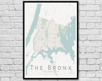 The Bronx, New York City USA City Street Map Print | Wall Art Poster | Wall decor | Travel Print | Housewarming Gift | Minimalist A3 A2