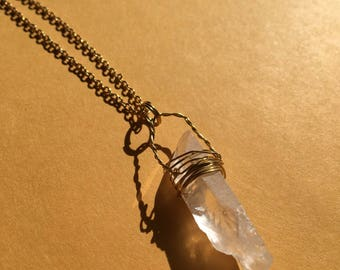 Reiki infused crystal clear quartz gold wrapped necklace with gold chain