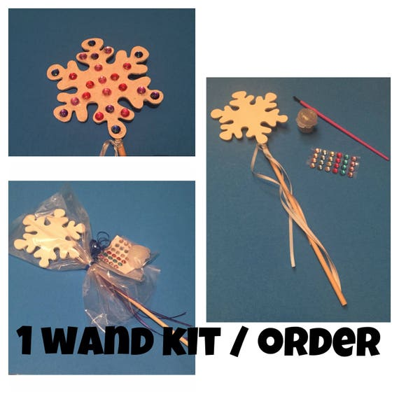 Wooden snowflake wand decorating kit craft activity for for Princess wand craft kit