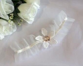 Ivory Garter, Lace Garter, Satin Bridal Garter, Tulle Garter, Wedding Garter, Modern Garter, Tulle Bridal Garter, Bridal Lingerie