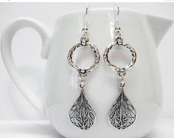 CIJ SALE Antique Silver Filigree Leaf Earrings - Intricate Filigree Earrings - Silver Jewelry - Silver Leaf Earrings - Womens Earrings - Gif