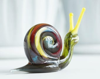 snail, glass figurine, fused glass art, desk accessories for women, glass blown, blown glass animals, glass sculpture, glass animals