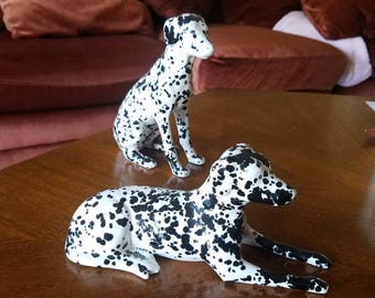 Unique set of 2 Dalmatians ceramic black and white spotted dogs canine figurines