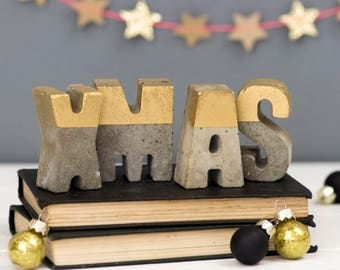Concrete Letters – Christmas word Decoration - Xmas  – Home Décor – Christmas Decor – Housewarming Gift – Christmas Gift – Concrete