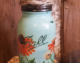 Art on glass candle holder. Ball jar. Hand painted candle holder.  Cheerful gift. Farmhouse decor.