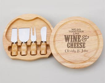 We Go Together Like Wine & Cheese Personalized Gourmet 5pc. Cheese Board Set - JM4989968-S