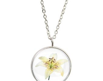 Lily Pendant and Silver Plated Necklace