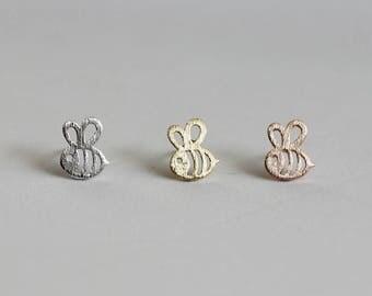 Dainty Bumble Bee Stud Earrings / honey bee earrings, baby bumblebee studs, busy bee earrings, tiny bee studs / E1-06