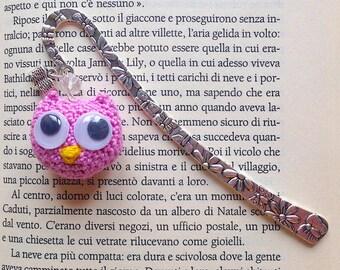 Bookmark hook with pink OWL amigurumi