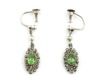 Art Deco Silver Peridot Drop Earrings c.1920
