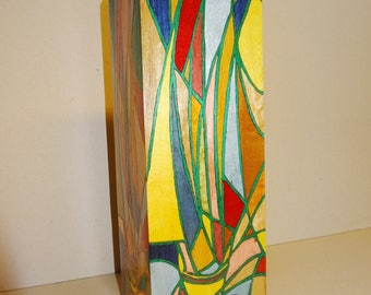 INLAY wood 30 X 10 X 10 covered glass VASE
