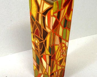"Dressed in ""VITRAIL"" MARQUETRY wood glass VASE"