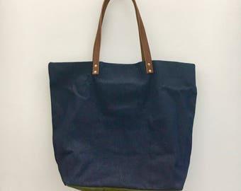 Indigo denim tote bag with Vintage army fabric