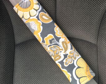 Adult Padded Seat Belt Strap Cover, Yellow, Buttercream and Gray Floral Regular Strap Cover, Car Seat Lap Belt Strap Cover, Car Accessories