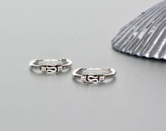 12mm Bali Hoops, Silver Ear Hoops, Minimalist Earrings, Bohochic Jewelry, Gift Hoops, Ear Accessory, Ethnic Hoops, Oxidized Silver (E95)