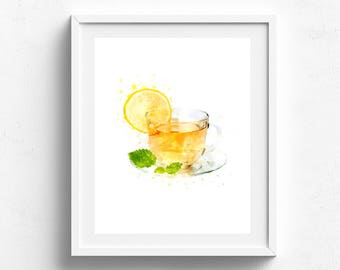 Kitchen tea print Kitchen poster Cup of tea decor Watercolor painting art Chalkboard kitchen Kitchen Art Print Kitchen wall art Tea time