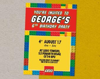 Digital LEGO Personalised Birthday Party Invitation Invite