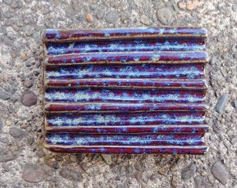 Ceramic Soap Dish - Blue Soap Dish, Speckled Red and Blue Soap Dish, Handmade Soap Dish, Clay Soap Dish
