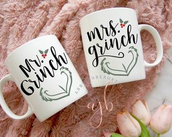 Mr. and Mrs. Grinch Mugs, Mr. Grinch Mug, Mrs. Grinch Mug, Funny Holiday Mug, Silly Christmas Mug, Funny Holiday Mug, Funny Mug For Friends
