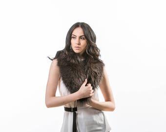 Dusty Fox Fur Collar ,Real Fox Fur, Neckwearing, Fur Shawl, Fur Scarf, Brown Fox Fur Scarf, Fox Fur Stole