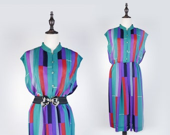 Colourful Striped Pleated Stand Collar Sleeveless Pink Green Vintage Women Dress Size L
