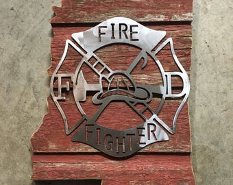 Mississippi Firefighter Barnwood Sign