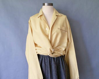 vintage pure silk button down sleepwear/blouse/shirt women's size M/L