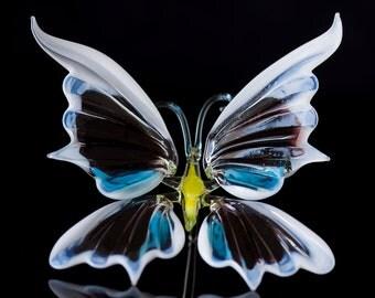Hand Blown Glass Butterfly Sculpture insect statuette home decor figurine art glass figurine collectible glass butterfly art