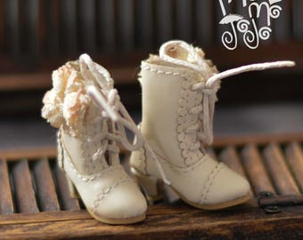 Shabby Chic Boots for Blythe/ Azone/ Licca/Momoko Blythe Doll Shoes B43