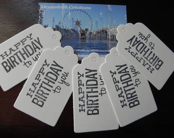 """Tags: 5 labels 7 x 4 cm with the inscription """"HAPPY BIRTHDAY TO YOU"""""""