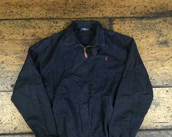 Vintage Polo Ralph Lauren Zip Up Jacket Leather Pull Sz L | Made in USA