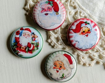 "Retro Santa Magnets- Packaged set of Four 1"" Christmas Magnets"