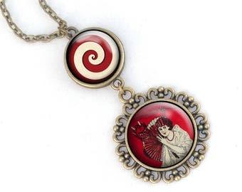 Krampus necklace- Two level Krampus pendant, Krampus with Woman