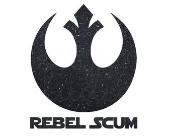 Star Wars Rebel Alliance Rebellion in Black Glitter Vinyl Matching Family Disney Vacation Iron On Decal Vinyl for Shirt 042