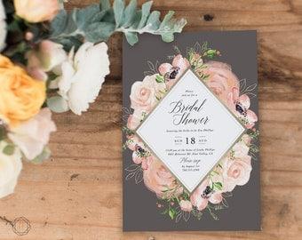 Bridal Shower Invitation, Watercolor Bridal Shower Invitation, Floral Bridal Shower Invitation, Bridal Brunch, Calligraphy Invitation, #PPS