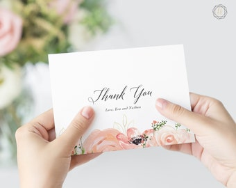 Thank You Cards, Wedding Thank You Cards, Floral Thank You Cards, Thank You Note, Printable Thank You Card, Personalized Thanks, #PRG