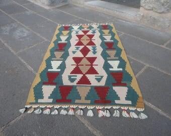 Kilim rug,doormat,bathroom rug,FREE SHIPPING 43 x 26 decorative small rug,christmas gift rug,table rug,wall rug,hand made kilim rug,thin rug