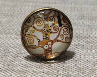 Ring round cabochon - Klimt - tree of life - painter-