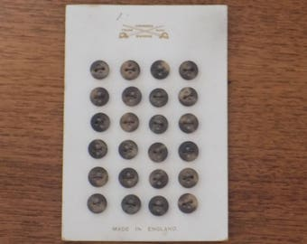 Original Card of 24 Little Dark Brown Vintage Buttons. Made in England. Vintage haberdashery. Dressmaking. Collectors Buttons.