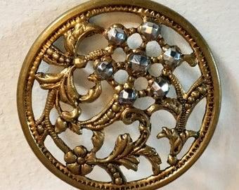 Cut Steel Flower Openwork Metal Large Antique Brass Button