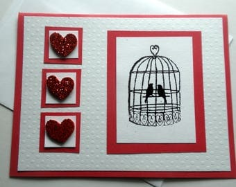 Love Birds in a Cage VALENTINE'S Day Note Card