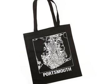 Portsmouth Tote Bag - Portsmouth Map Print - Black White Tote Bag