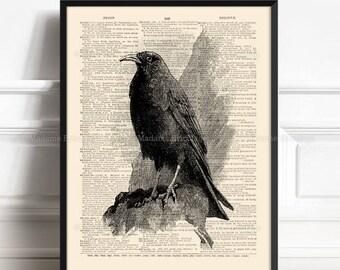 Black Raven, Husband Gift Print, Edgar Allan Poe, Nevermore, Gothic Decor, Gothic Black Bird, Black Crow Poster, Literary Art, Animal 248