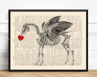 Pegasus Bones Print, Mythology Poster, Goth Art Poster, Mythical Creature, 2nd Year Anniversary Coworker Woman Gift Valentine Gift Print 469