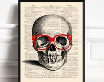 Geek Poster Print, Geeky House Gift, Skull Head Print, New College Student, Skull Print Gift, College Student Gift, Hipster Wall Decor, 032