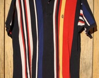 Vintage Nautica Polo Multi Colour Striped Stipe Size XL +