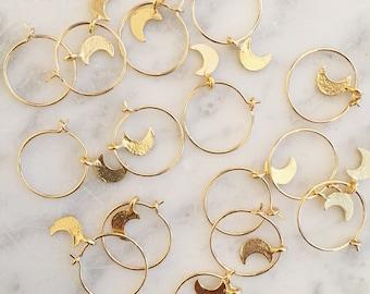 Gold filled half moon handmade hoops earrings luna